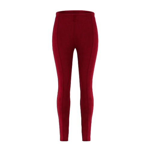 Buy Sexy Women Faux Suede Leggings Solid High Waist Skinny Pants Tights Slim Bodycon Pencil Trousers