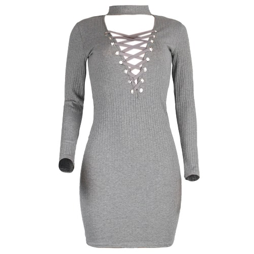 Women Halter Knitted Lace Up Sexy Dress V-Neck Long Sleeves Casual Bodycon Dress Black/Grey