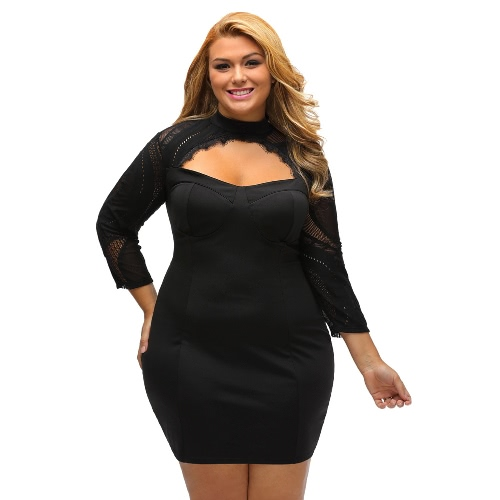 Buy Sexy Women Plus Size Lace Dress Cutout Hollow 3/4 Sleeves Bodycon Party Black