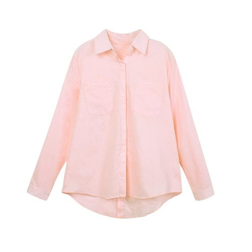 Buy Fashion Women Loose Shirt Solid Turn-Down Collar Long Sleeve Pocket Casual Blouse Tops White/Pink