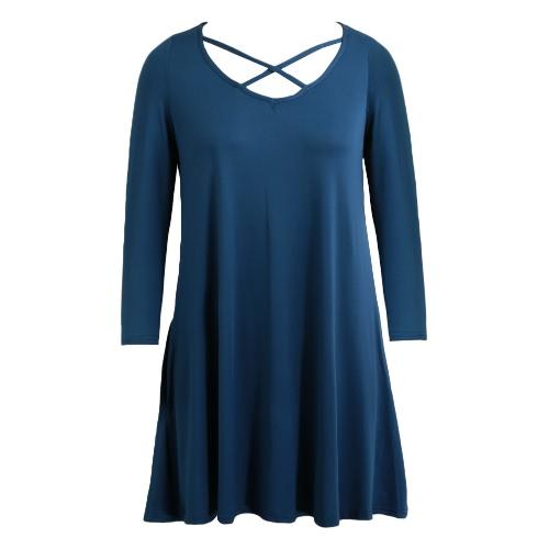 Buy Spring Women Autumn Basic Loose Short Dress Three Quarter Sleeves Solid O-Neck Mini Swing Blue