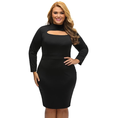 Sexy Women Mini Plus Size Bodycon Dress Solid Cut Out Long Sleeves Elegant Slim Party Dress Black/Red