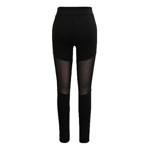 New Women Sport Yoga Leggings Sheer Mesh Contrast Color Stretch Fitness Gym Running Bodycon Pants Black/White
