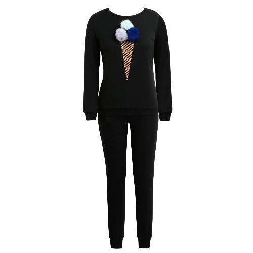 Buy Women Tracksuit Two Pieces Set Sportswear Pom Ice Cream Print Elastic Sweatshirt Long Pants Casual