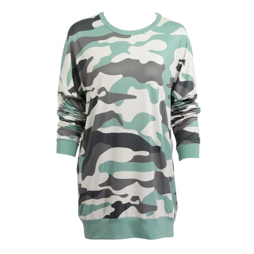Buy Women Camouflage Dress Camo Print Dropped Shoulder O Neck Long Sleeves Loose Straight Mini Green