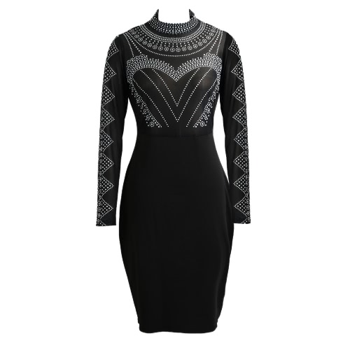 Buy Sexy Women Dress Semi-sheer Stand Collar Long Sleeve Dot Pattern Zipper Bodycon Party Mini