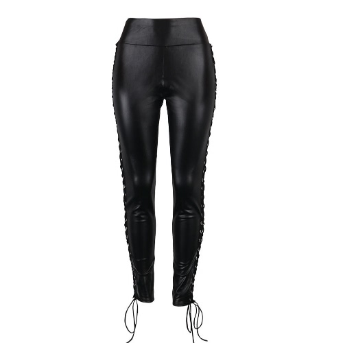 Women Leggings Faux PU Leather Bandage Lace Up Hollow Out Gothic Punk Clubwear Skinny Cool Pencil Pants