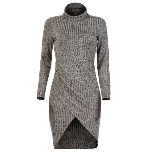 Buy Sexy Women Bodycon Short Dress Cross Front Turtleneck Long Sleeve Casual Party Grey