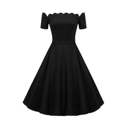 Buy Women Vintage Dress Scalloped Slash Neck Shoulder A-Line Short Sleeves Back Zipper Elegant Retro Black/Red