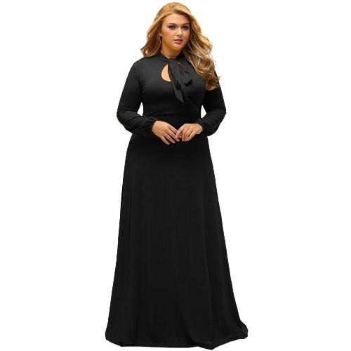 Buy Sexy Women Plus Size Maxi Dress Bow Neck Cut Long Sleeve Evening Party Solid