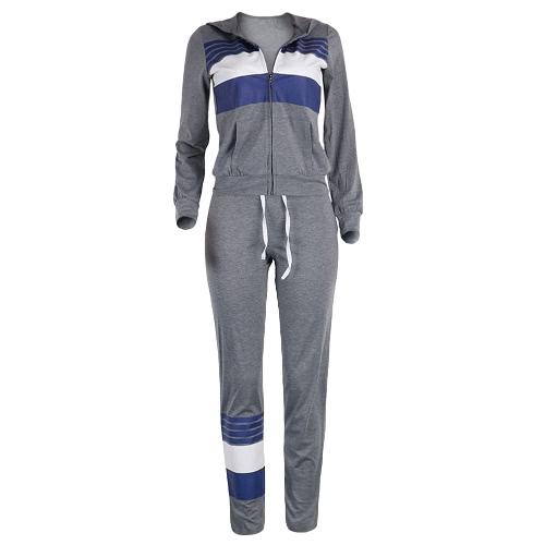 Buy Women Tracksuit Set Sportswear Stripe Drawstring Sweatshirt Long Pants Casual Two Pieces Grey