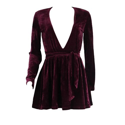 Buy Sexy Women Velvet Mini Dress Deep V-Neck Tie Waist Long Sleeve Clubwear Party Burgundy