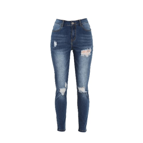 Buy Women Ripped Jeans Denim Destroyed Frayed Hole Washed Distressed Skinny Pants Pencil Trousers Tights Blue