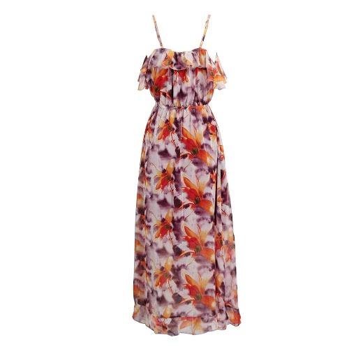Buy Women Chiffon Long Dress Bohemia V-Neck Spaghetti Strap Floral Print Side High Splits Ruffles Beach Wear Red/Purple
