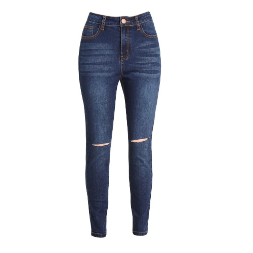 Buy Sexy Women Skinny Denim Jeans Ripped Hole Trousers Stretch Slim Pencil Pants Casual Leggings Blue