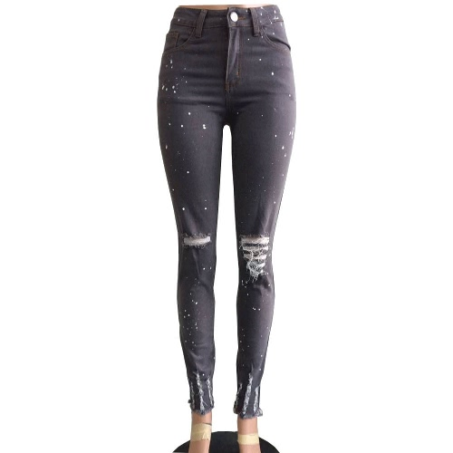 Buy Women Jeans Stretch Washed Denim Ripped Hole Knee Dots Mid Waist Distressed Sexy Skinny Pencil Pants Dark Grey