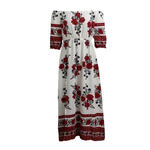 Buy Women Sexy Floral Print Dress Shoulder Half Sleeve Elastic Waist Split Hem Beach White
