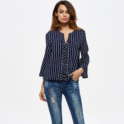 Sexy Women Striped Lace Up Blouse Shirt V Neck Flare Sleeve Casual Female Top Dark Blue