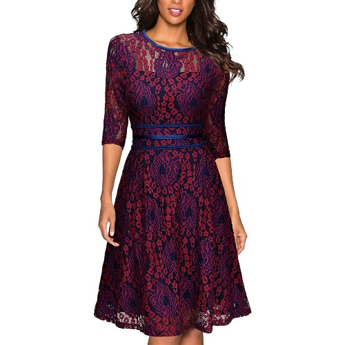 Buy Sexy Women Lace Dress Hollow O-Neck Half Sleeve Plus Size A-Line Evening Party