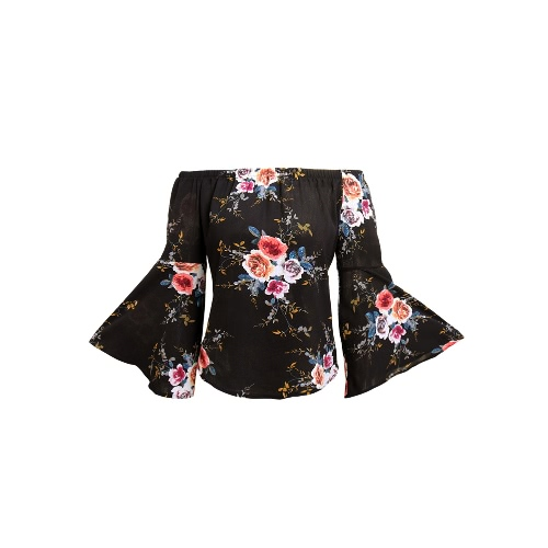 Buy Women Shoulder Top Floral Print Elastic Slash Neck Long Flare Sleeve Asymmetrical Blouse Casual