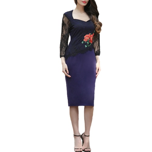 Buy Women Dress Embroidery Floral See Lace Party Evening Bridemaid Mother bodycon White/Red/Royal Blue
