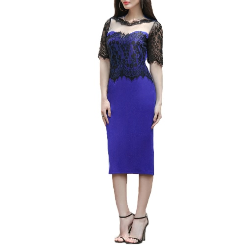 Buy Women Dress Embroidery Floral See Lace Party Evening Bridemaid Mother bodycon