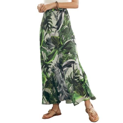 Buy Sexy Women High Waist Boho Leaf Print Long Skirt Maxi Beach Vintage Summer Casual Green