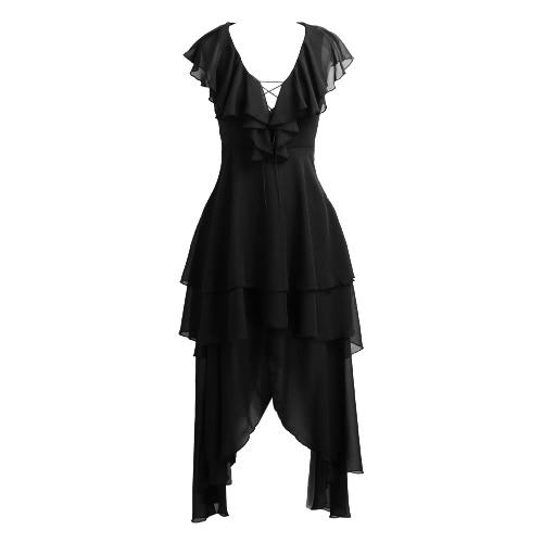 Women Asymmetrical Chiffon Dress Plunge V Neck Ruffles Hollow Out Lace Up Draped Swing Layered Dress Black