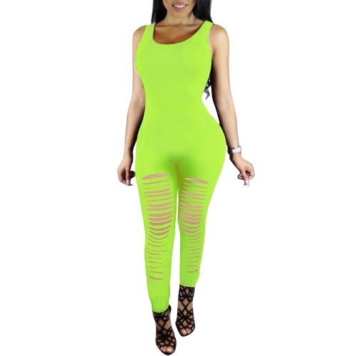 Sexy Women Sleeveless Bodycon Jumpsuit Ripped Cutout Club Bodysuit Rompers One Piece Playsuit Long Pants