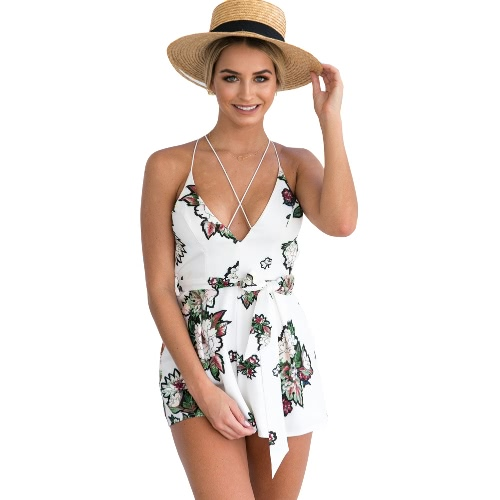 Buy Sexy Women Strap Jumpsuit Short Rompers Floral Print V-Neck Backless Sleeveless Beach Casual Playsuit White