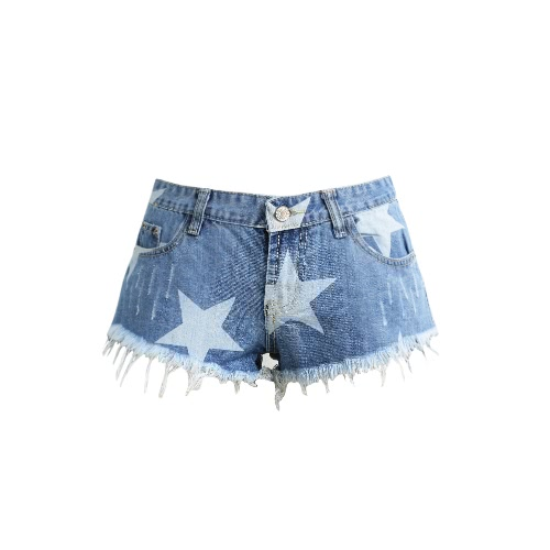Women Star Print Shorts Frayed Tassel Denim Shorts Washed Sexy Low Waist Rip Super Shorts Summer Jean Shorts Light Blue