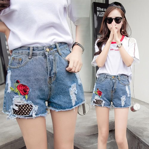 Buy Women Jean Shorts Washed Denim Floral Rose Embroidery Grids Holes High Waist Ripped Frayed Slim Pants White/Blue