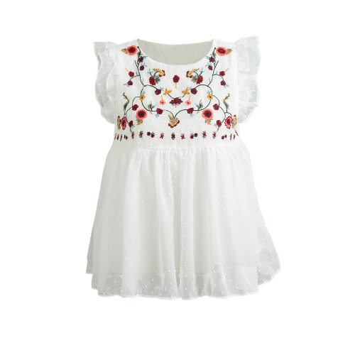 Buy Sweet Shirt Floral Embroidery Pleated Ruffled Cute Sleeveless Vintage Summer Blouse Tops White