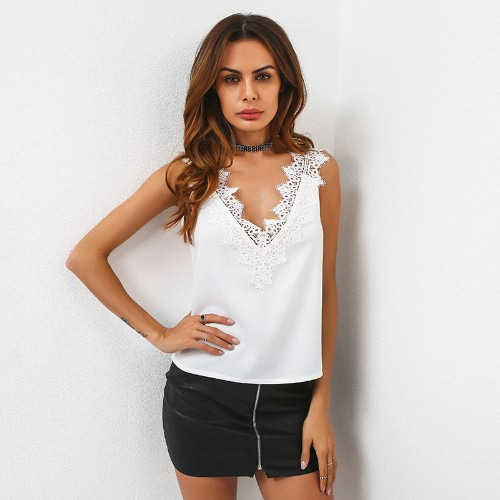 Fashion Women Vest Plunging V Neck Floral Lace Sleeveless Solid Sexy Tank Top Tees White/Black