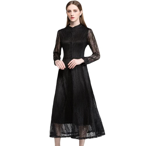 Sexy Women Lace Dress Hollow Out Long Sleeve Button Elegant Evening Party Casual Dress Black