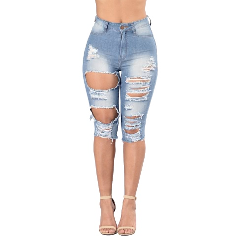 Sexy Women Jeans Shorts Washed Denim Hole Ripped Knee High Waist Distressed Skinny Pencil Pants Blue