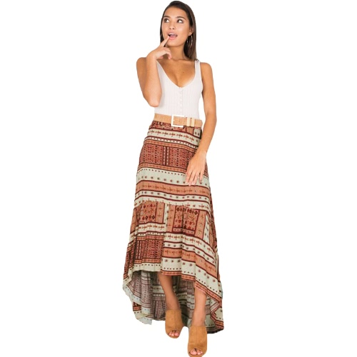 Boho Women Skirt Geometric Pattern Print Asymmetric High Waist Long Casual Beach Holiday Wear