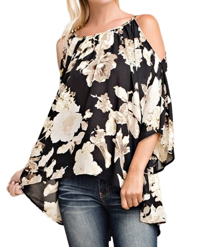 Buy Women Shoulder Floral Print Blouses 3/4 Flare Sleeves Asymmetrical Casual Sexy Shirts Blusas Top
