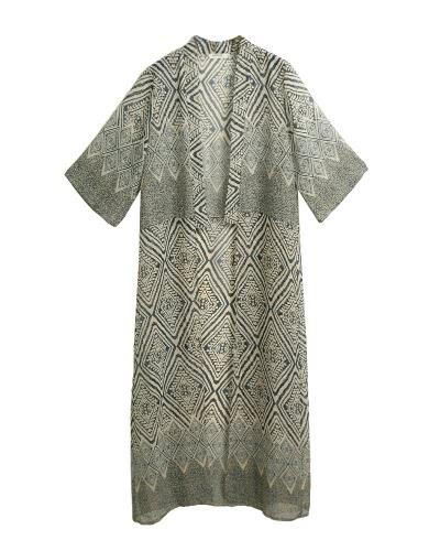 Women Chiffon Kimono Cardigan Geometric Print Beach Boho Outerwear Summer Loose Bikini Cover Up Blue/Black