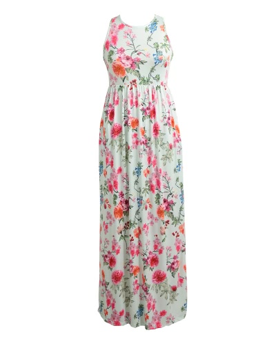 Buy Women Sexy Floral Print Dress Sleeveless Racerback Tunic Maxi Beach Long Loose