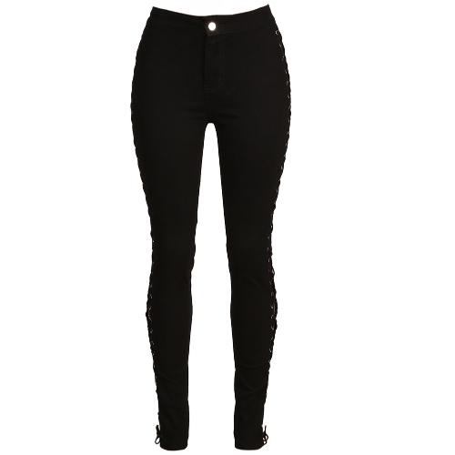 Buy Sexy Women Jeans Leggings Cross Side Lace Bandage Hollow High Waist Skinny Pencil Clubwear Pants Black