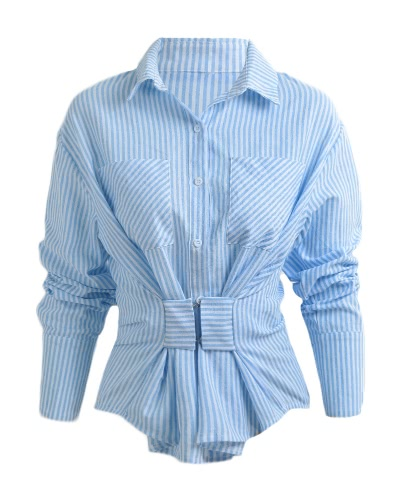 Buy Fashion Women Blouse Striped Single Breasted Long Sleeves Casual Loose Top Blue