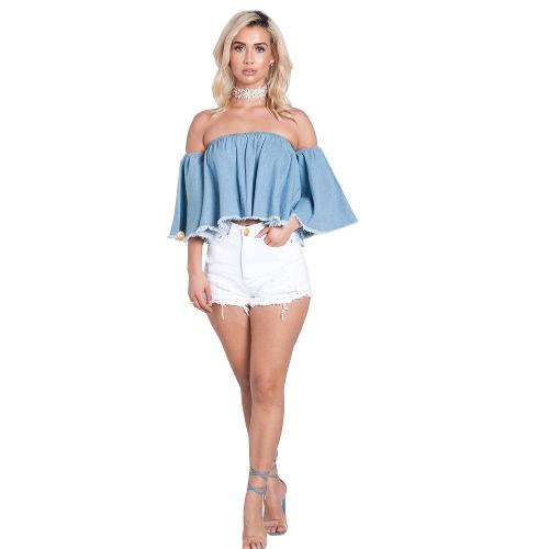 Buy Women Ripped Hole Fringe Denim Shorts Casual High Waist Jeans Summer Girl Frayed Hot White