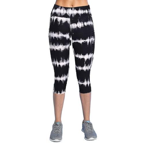 New Fashion Women Capri Leggings High Waist Printed Cropped Yoga Pants Fitness Workout Casual Trousers