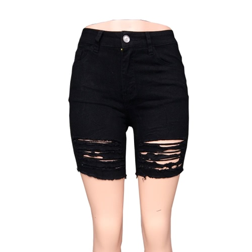 Buy Women Ripped Denim Shorts Casual High Waist Jeans Button Pockets Summer Skinny White/Black