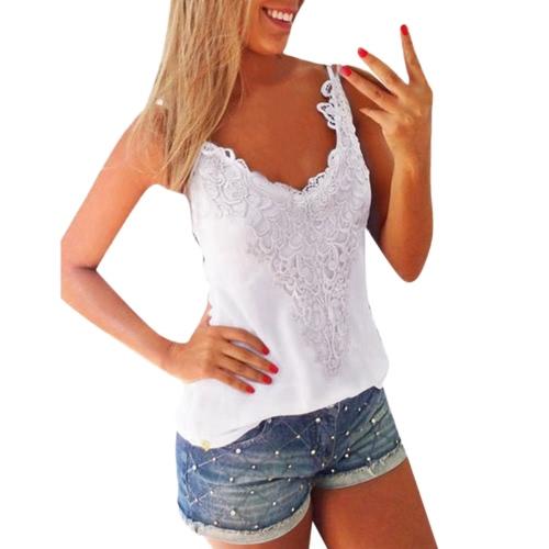 New Women Elastic Tank Tops O-Neck Lace Crochet Vest Slim Bodycon Sexy Summer Camis White/Black