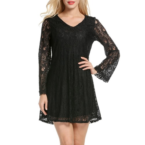 Sexy Women Mini Dress Lace Hollow Out V-Neck Long Sleeves Elegant Loose Party Dress Black/Green от Tomtop.com INT