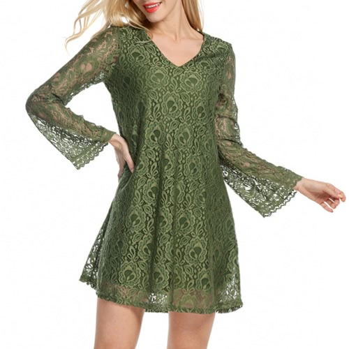 Sexy Women Mini Dress Lace Hollow Out V-Neck Long Sleeves Elegant Loose Party Dress Black/Green