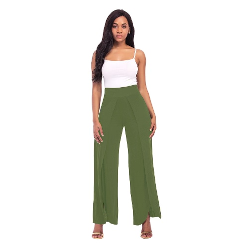 Buy Sexy Women High Split Flowy Wide Leg Pants Mid Waist Solid Yoga Trousers Summer Beach Long Loose Harem