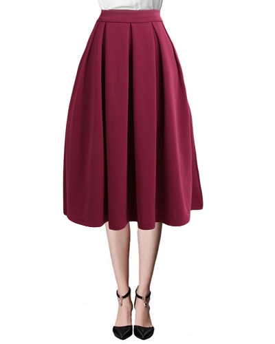 Buy Fashion Women High Waist Pleated Skirt Side Zipper Flared Skirts Pockets Black/Red